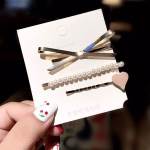 Metal Pearl 3pc Bobby Pin / hair clip set
